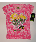 Youth Girls John Deere Logo T-Shirt (Pink Camo ) I Love John Deere  - $11.69