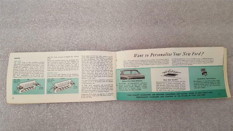 FORD PASS 1964 Owners Manual 15754