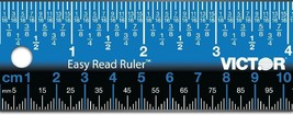 Stainless Steel Blue Easy Read Ruler No Glare Straight Edge Measuring To... - $14.44