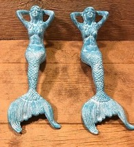 "Large Cast Iron Greenish Mermaid 17 3/4"" (Set o... - $52.50"