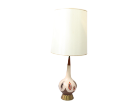 Vintage 60s Mid Century Modern MCM Ceramic Brass Teak Wood Table Lamp De... - $159.85