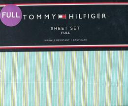 Tommy Hilfiger Shadow Stripe Aqua Sheet Set, Full Size - $59.99