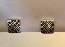 Vintage Square Clip On Earrings Weave Design Silvertone Screw J3505 - $8.54