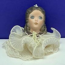 Porcelain doll head bust lace victorian dress antique mcm betty ornament... - $29.65