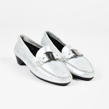 Salvatore Ferragamo Silver Metallic Leather Buckle Loafers SZ 8 - $113.74 CAD