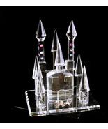 crystal castle figurine - miniature crystal pink rhinestone palace - Persian wed - $95.00