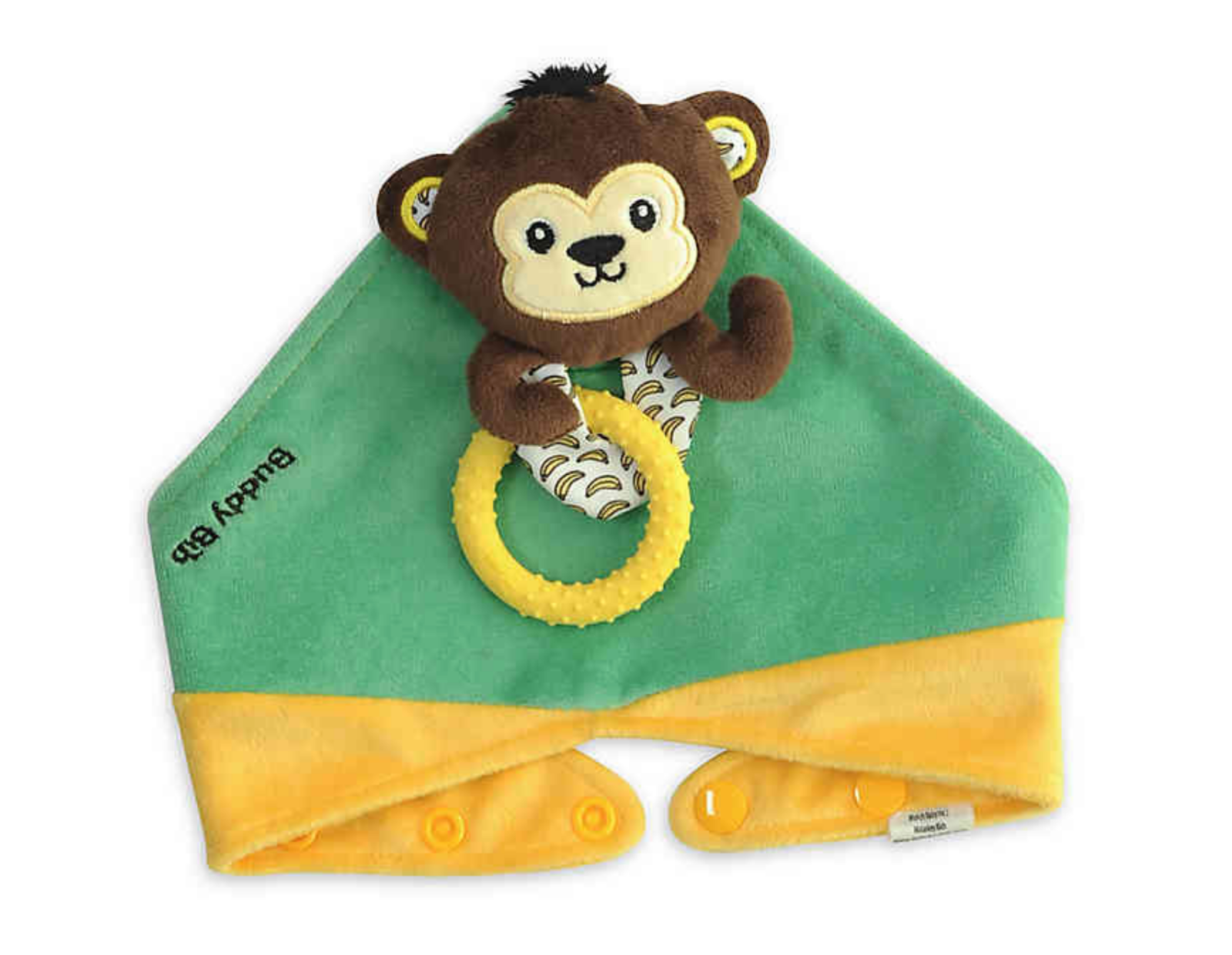 Malarkey Kids Original Mom Invented Teething Toy 3in 1 Buddy Bib MISCHIEF MONKEY