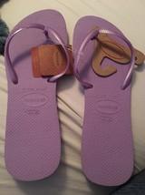 New Havaianas Flat Flip Flops Womens Sandals Shoes  11/12Thin Strap Lila... - $21.59