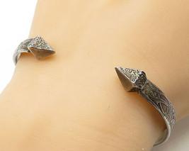925 Silver- Vintage Antique Tropical Floral Pointed Arrow Cuff Bracelet ... - $99.24