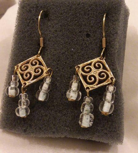 Vintage Fillagree Gold Tone White Beaded Chandelier Wireback Earrings