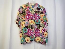 Koret XL Womens Pink Floral Button Front Short Sleeve Tops Shirt - $4.49
