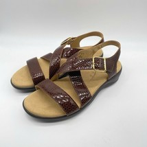 SAS NWB Womens 9 M Laguna Brown Leather Buckle Sandal in Weave Henna - $69.74