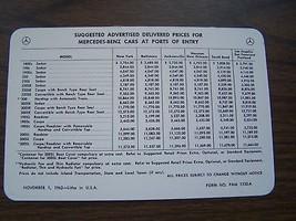 1962 mercedes owners price card brochure 190sl 300sl  220se  w121 w198  ... - $39.99