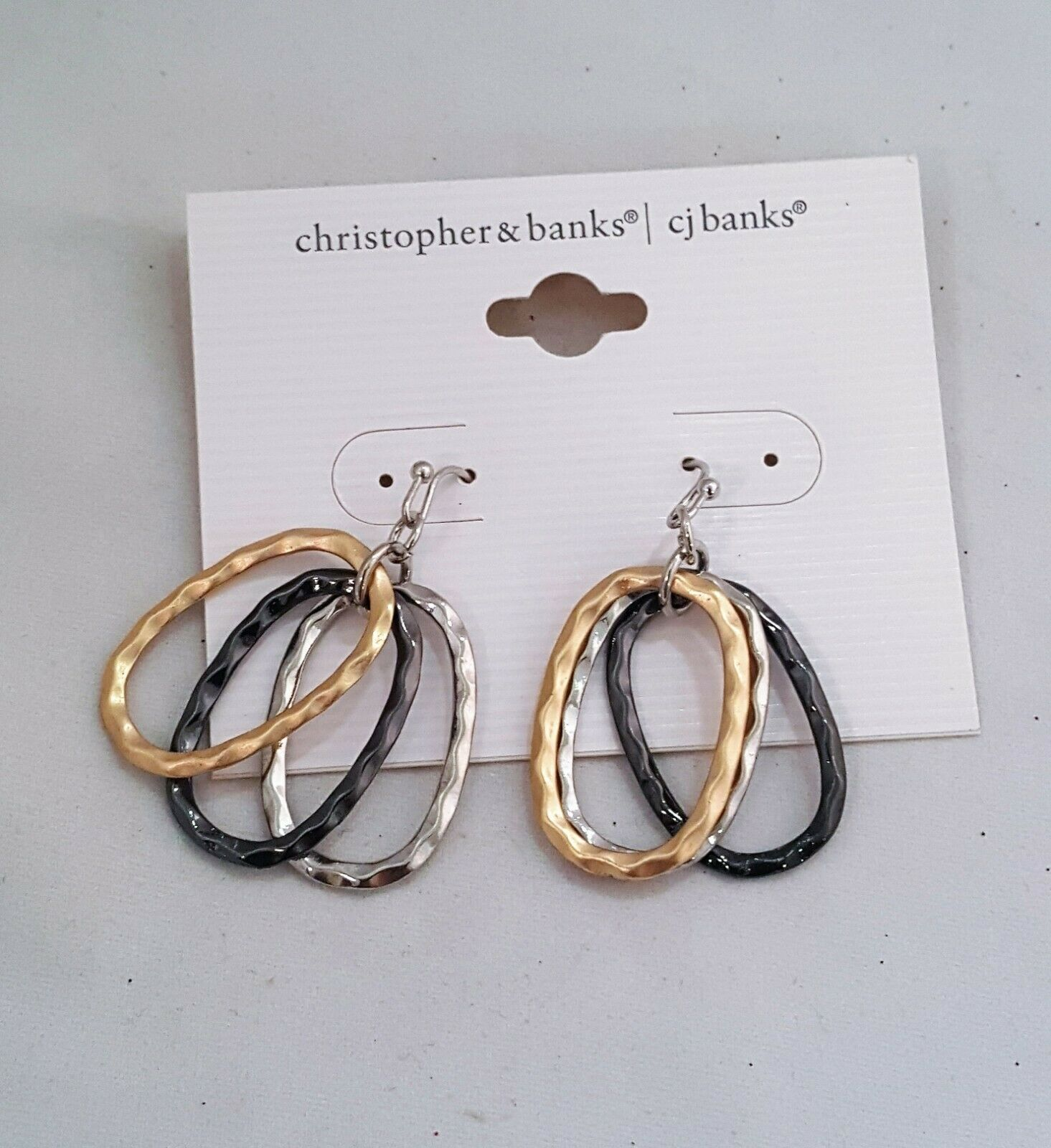 Primary image for c j banks TRI COLOR HOOK DANGLE EARRINGS SILVER , GOLD AND GUNMETAL PLATING