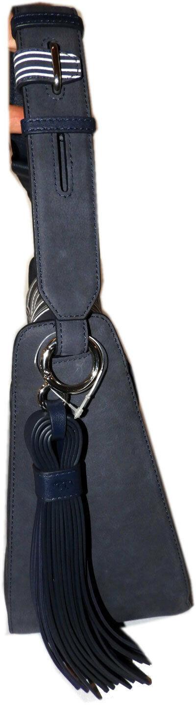 Tory Burch Blue Tassel Large Shoulder Bag Purse Satchel image 3