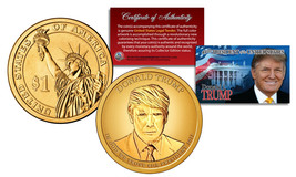 DONALD TRUMP Genuine 45th President PRESIDENTIAL DOLLAR $1 U.S. Coin GOL... - $8.86