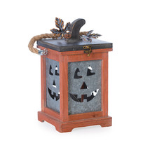 Darice Halloween Decor - Wood Metal Pumpkin Face Lantern - £34.43 GBP