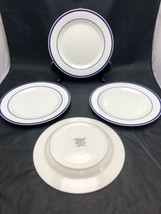 "4 Oneida Maitre d' Porcelain 9"" Salad Plates White/Blue Band EUC - $19.75"