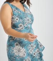 Plus Size Blue Dress, Blue Floral Dress, Plus Size Dress, Blue Print Dress image 4