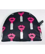 Lulu Guinness Tape Lipstick Make Up Bag Case Travel Pouch Black - $111.24
