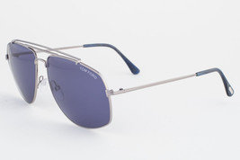 Tom Ford Georges Shiny Light Ruthenium / Blue Sunglasses TF496 14V - $191.10