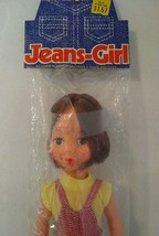 """Vintage 60s Jeans Girl Doll 11"""" NOS Candy Stripe Overalls Jointed pouty ... - $7.92"""