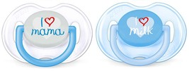 "Philips Avent Soother ""Fashion Pacifier I Love Mama"" Double Pack 0-6 mon... - $22.77"