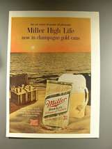 1968 Miller High Life Beer Ad - Champagne Gold Cans - $14.99