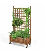 50in Wood Planter Box with Trellis Mobile Raised Bed for Climbing Plant - £127.77 GBP