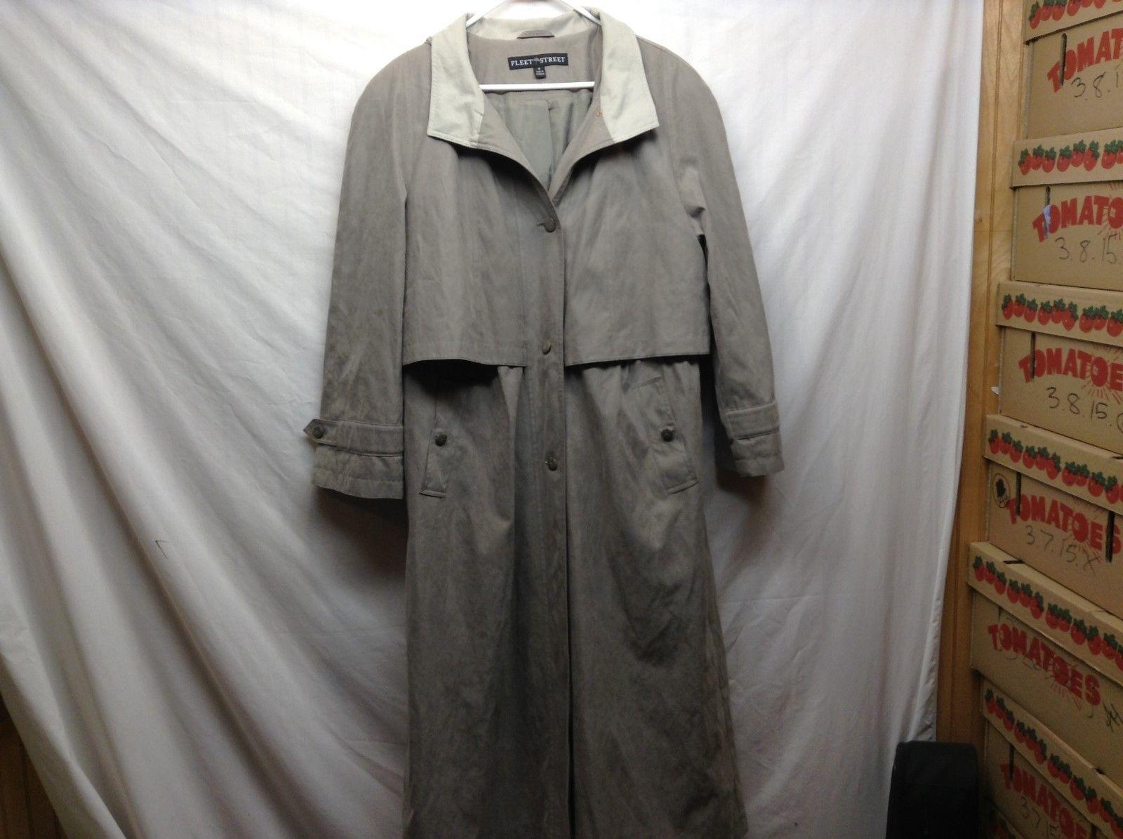 Fleet Street Button Up Light Green Raincoat Trench Coat Sz 16