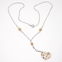 Necklace Silver 925, Pearls, Heart Pink Pendant, Milled Satin Wavy image 2