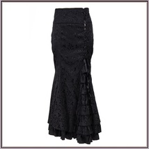 Renaissance Black Lace Up Brocade Layered Tulle Waterfall Lace Mermaid S... - $109.95
