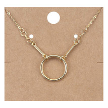 CHIC Minimalist 18kt Gold Plated Round Ring Pendant Petite Dainty Necklace - $12.99