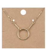 CHIC Minimalist 18kt Gold Plated Round Ring Pendant Petite Dainty Necklace - £10.19 GBP