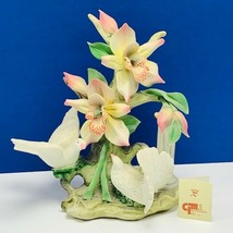 Capodimonte porcelain flower sculpture Italy figurine vtg doves napoli pillar  - $435.20