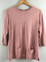 Talbots Sweater M Medium Dusty Rose Round Neck Tunic Cotton Blend Pink XX43 - $24.75