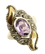 Vintage Art Deco Style Sterling & 18K Gold Marcasite .76CT Amethyst Ring... - $121.49