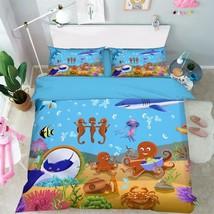 3D Cute Ocean 04 Bed Pillowcases Quilt Duvet Cover Set Single Queen King Size AU - $90.04+