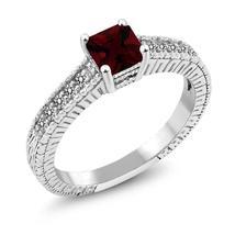 1.09 Ct Princess Natural Red Garnet White Diamond 925 Sterling Silver En... - $95.98