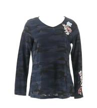Belle Kim Gravel Embroidered Floral Camo Long Slv Top Indigo Camo XS NEW... - $35.62