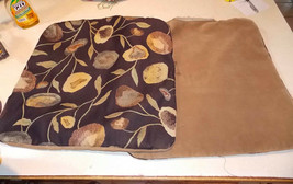 Pair of Brown Beige Flower Print Decorative Print Throw Pillows  22 x 22 - $59.95