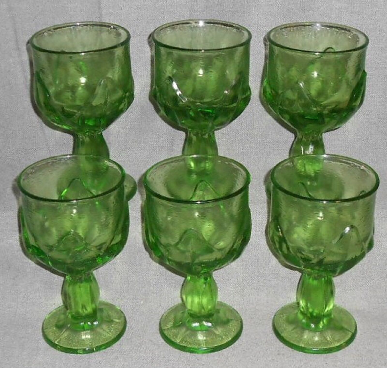 Primary image for MID CENTURY Set (6) Franciscan CABARET PATTERN Green WATER STEMS