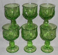 MID CENTURY Set (6) Franciscan CABARET PATTERN Green WATER STEMS - $69.29