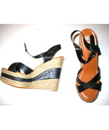 New Womens Miss Me Wedge Espadrille Sandals Shoes Black Brown 10 Criss C... - $35.20