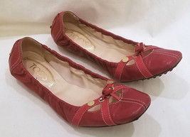 Tod's Ballet Flats Size- 8.5 Dark Red Leather Made in Italy - $49.95