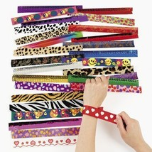 Kicko Assorted Slap Bracelets Party Favors 9 Inches - 50 Pieces - Assorted Color