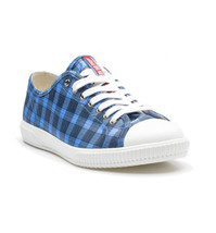 NEW PRADA Men's Blue & White Checkered Lace-Up Low Sneakers (Size 7.5 UK... - $299.95