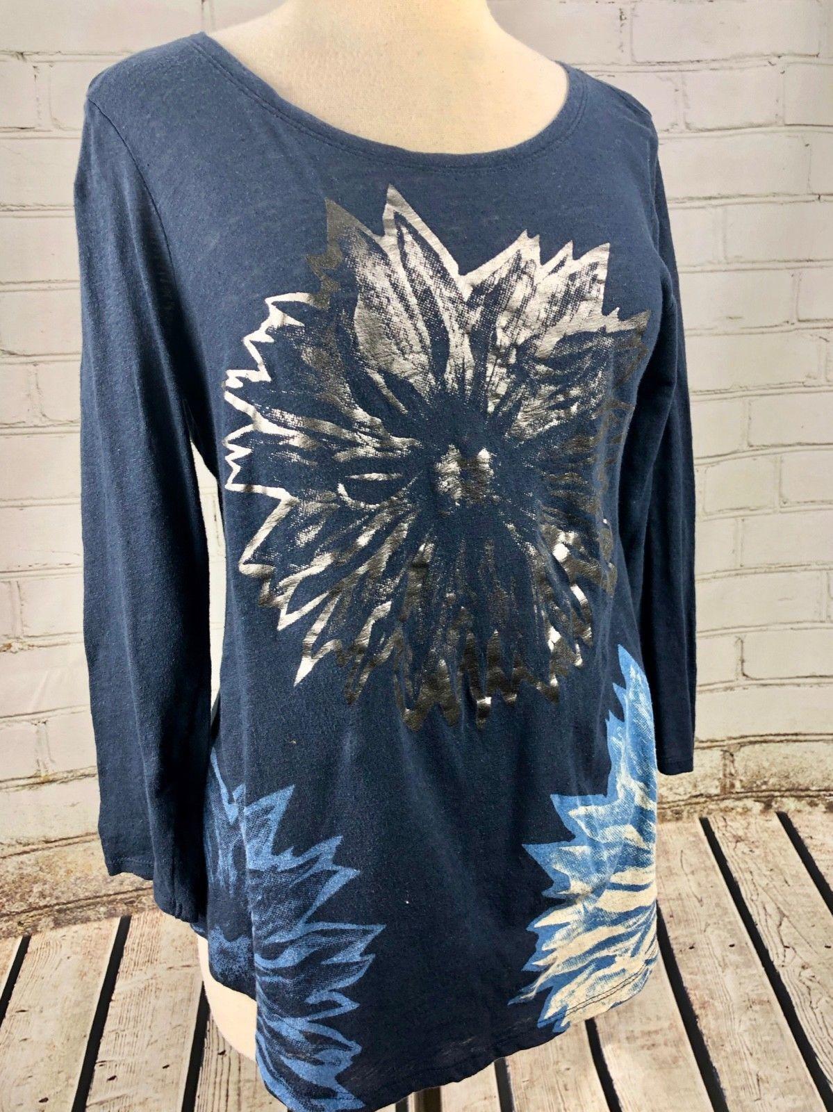 Lucky Brand Top T-Shirt Women's S Loose Fit Lightweight Linen Cotton Knit Flower