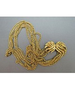 VTG Couture Trifari Necklace Mult Chain Gold Plated Designer Fancy Leaf ... - $39.59