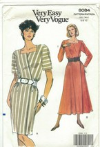 Very Easy Vogue 8084 Wrap Dress Pattern Fit & Flare or Slim Skirt Size 6... - $12.73